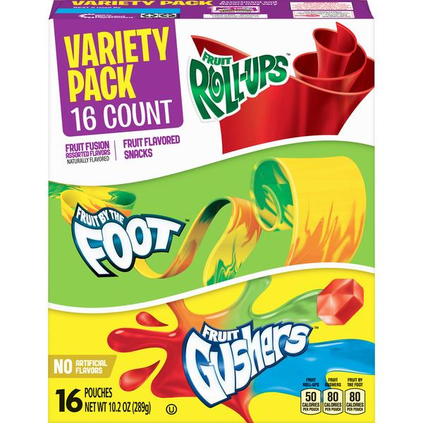 Betty Crocker Variety Pack Fruit Roll-Ups, Fruit by the Foot, Gushers 16Ct