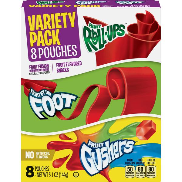 Betty Crocker Variety Pack Fruit Roll-Ups, Fruit by the Foot, Gushers 8Ct
