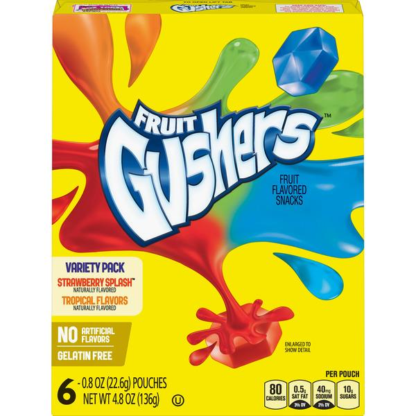 Betty Crocker Fruit Gushers Variety Pack 6-.8 oz Pouches