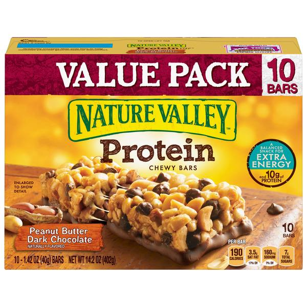 Nature Valley Peanut Butter Dark Chocolate Protein Chewy Bars 10-1.42 oz Bars