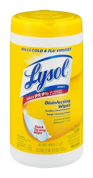 Lysol Lemon & Lime Blossom Scent Disinfecting Wipes 80Ct