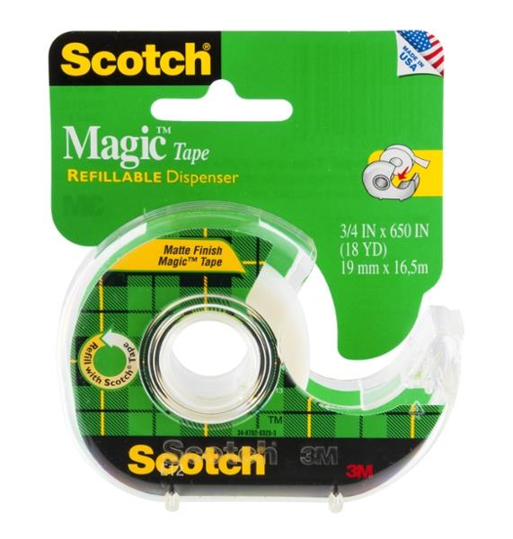 Scotch Magic Tape Refillable Dispenser 3/4 x 650