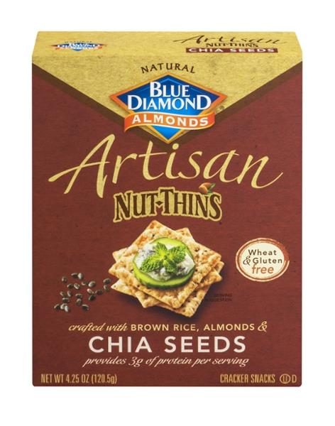 Blue Diamond Artisan Nut-Thins Brown Rice, Almonds & Chia Seeds