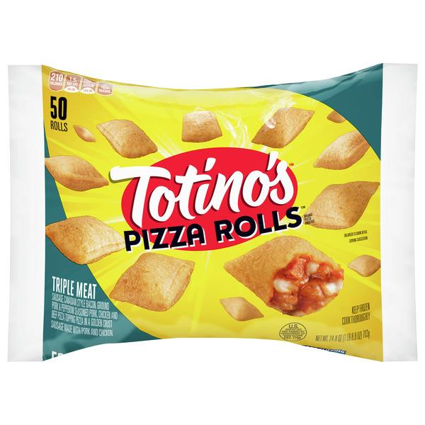Totino's Pizza Rolls, Triple Meat, 50 Rolls, 24.8 oz Bag