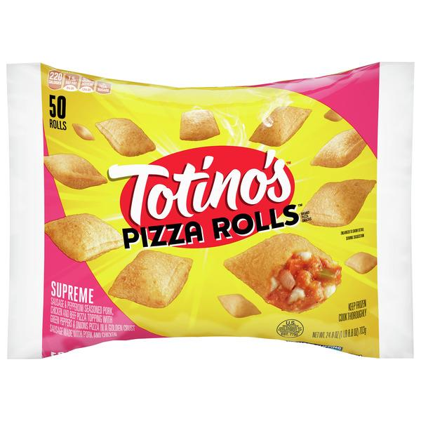 Totino's Pizza Rolls, Supreme, 50 Rolls, 24.8 oz Bag