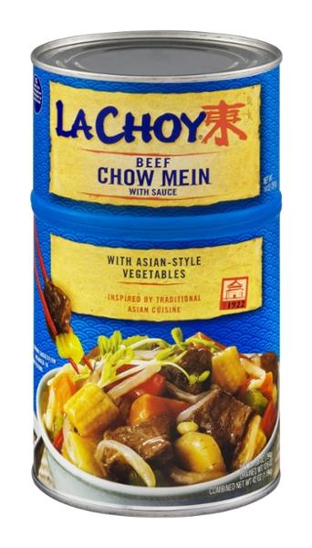 la choy beef chow mein with sauce and asianstyle