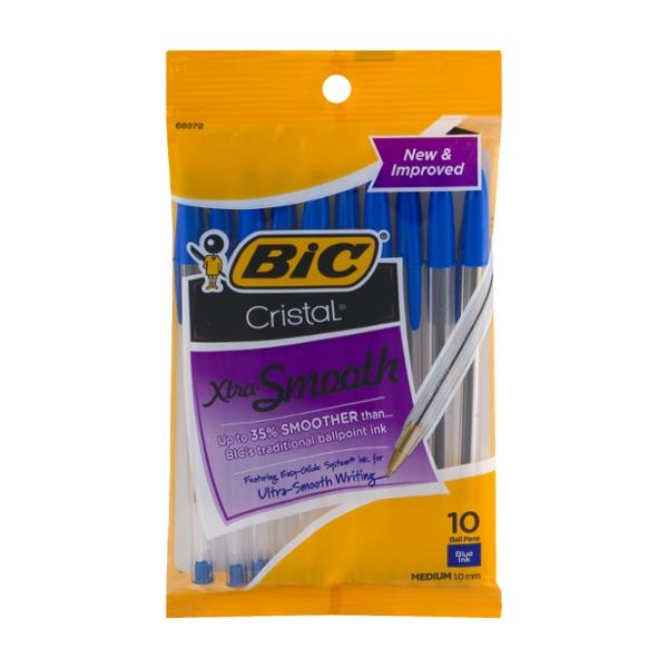 BIC Cristal Xtra Smooth Medium Ball Pens Blue Ink