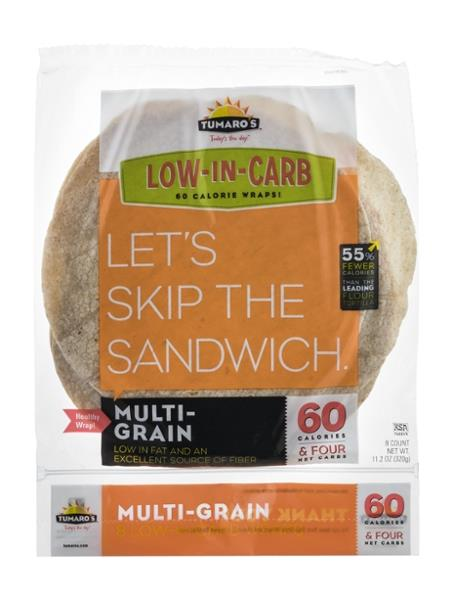 Tumaro's Wraps Low-In-Carb Multi-Grain 8CT