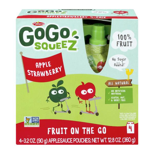 GoGo Squeez Applesauce On the Go Apple Strawberry 4Pk