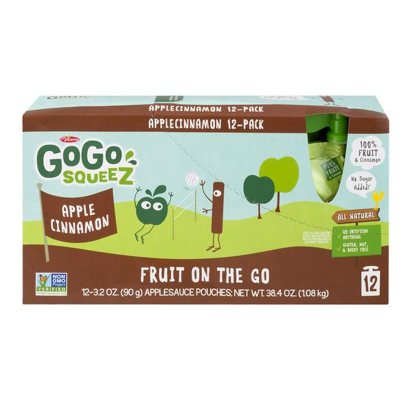 GoGo Squeez Applesauce On The Go Re-Sealable Pouches Apple Cinnamon 12Pk