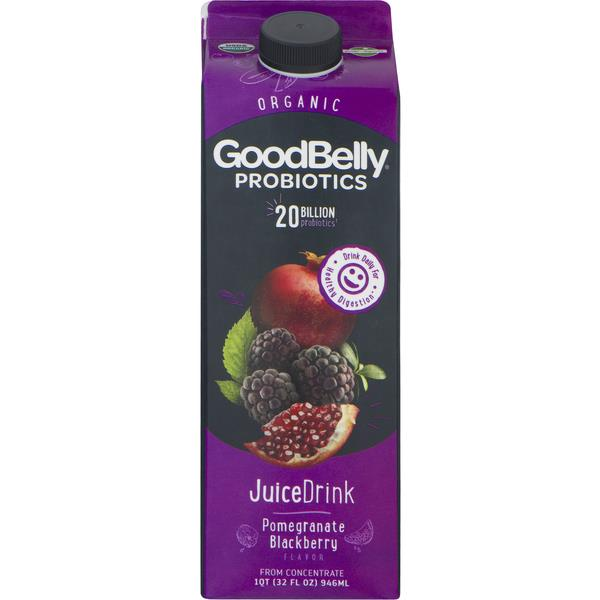 Juice Drink, Organic, Probiotics, Pomegranate Blackberry
